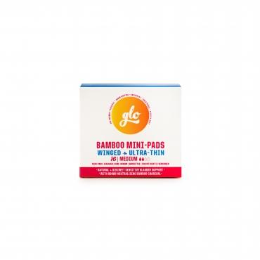 Absorbante mini cu carbune activ cu aripioare pentru flux redus sau incontinenta redusa, 16 buc (2 picaturi), Glo Flo