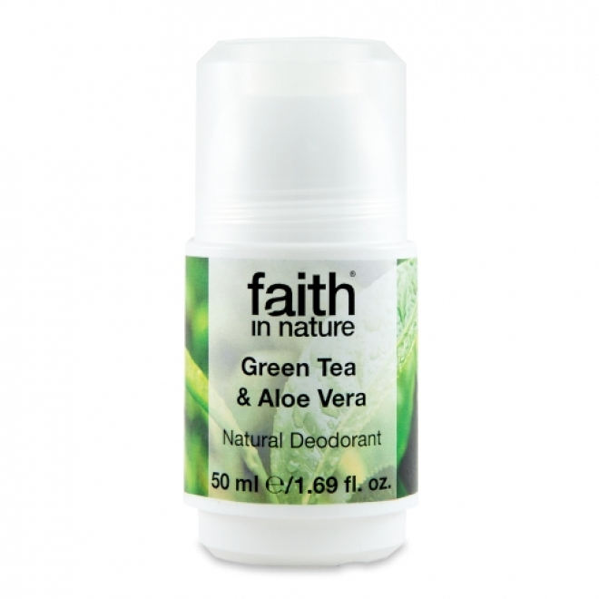 Deodorant roll on natural cu ceai verde si aloe vera, Faith in Nature, 50 ml