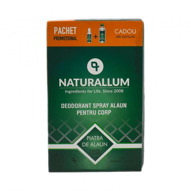 Pachet Alaun Corp - Deo Spray Alaun pt corp 100ml + Refill Apa Distilata 500ml, Naturallum