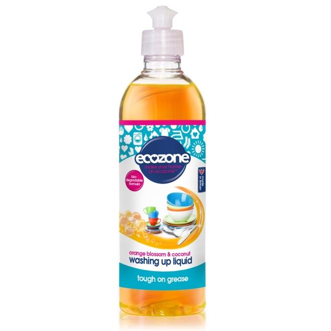 Solutie concentrata pt spalat vase, cu floare de portocal si nuca de cocos, Ecozone, 500 ml