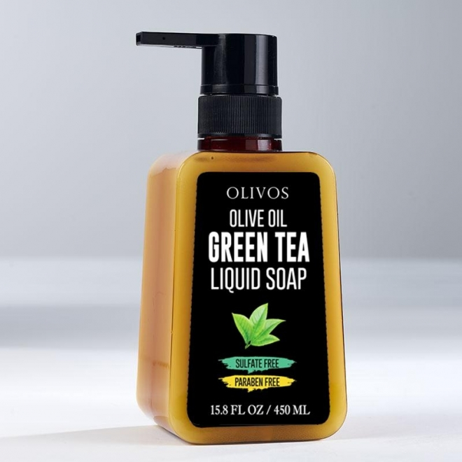 Sapun lichid  calmant  cu ulei de masline si ceai verde, Olivos, 450 ml