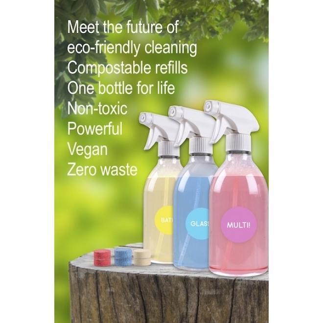 Set solutie curatare GEAMURI - zero waste - recipient si tablete, Noout